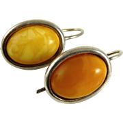 Vintage Sterling Silver and Amber Earrings