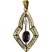 Antique Edwardian 10K Lavalier Seed Pearls Faux Amethyst