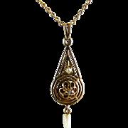 Vintage Art Deco Lavalier 10K Gold Diamond Freshwater Pearl