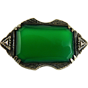 Vintage Arts and Crafts Chrysoprase Pin