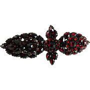 Antique Victorian Bohemian Garnet Rose Gold Pin