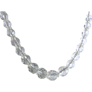 Vintage Art Deco Clear Faceted Glass Bead Necklace