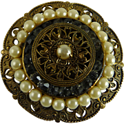 Vintage Brass Dress Clip with Faux Pearls