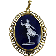 Vintage Glass Cameo Pendant Goddess