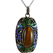 Vintage Chinese Export Pendant Enamel Tiger Eye