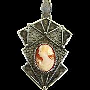 Vintage Art Deco Filigree Pendant with Shell Cameo