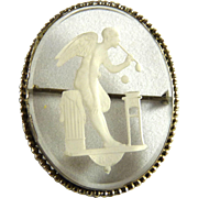 Vintage Art Deco Reverse Carved Intaglio Glass Pin Czech