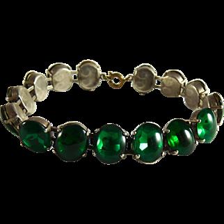 Vintage Green Glass Cabochon Bracelet