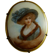 Victorian Porcelain Portrait Brooch Pin Sarah Siddons