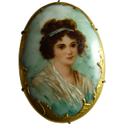 Victorian Porcelain Portrait Brooch Pin Hand Painted Transfer