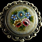 Vintage Micro Mosaic Micromosaic Pin Brooch Italy