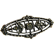 Petite Vintage Sterling Paste Edwardian Pin