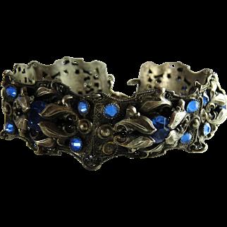 Antique Art Nouveau Panel Bracelet Blue Glass Stones