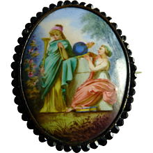 Antique Victorian Hand Painted Porcelain Pin Brooch Muses Classical Scene