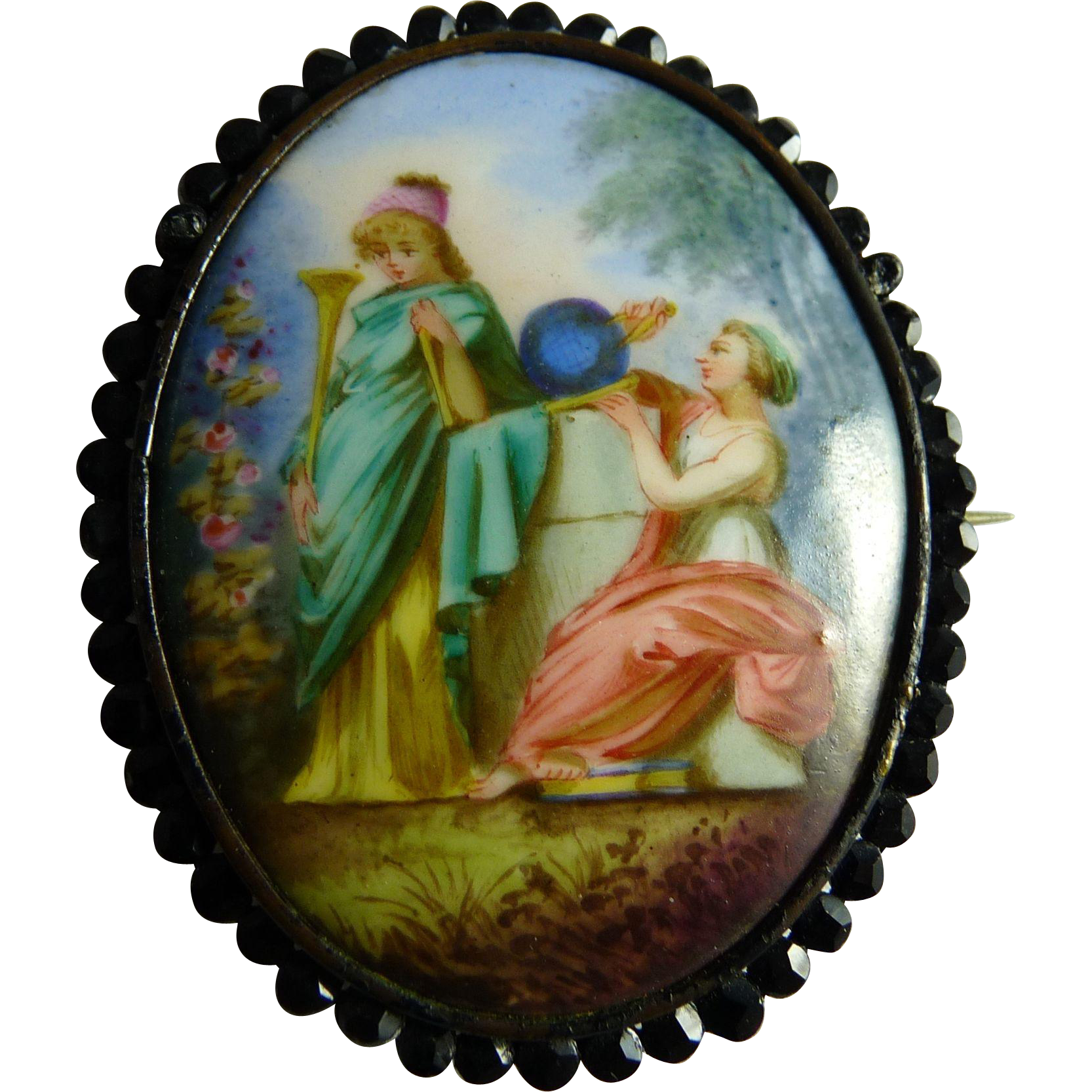 Antique Victorian Hand Painted Porcelain Pin Brooch Muses Classical From Ornaments On Ruby Lane