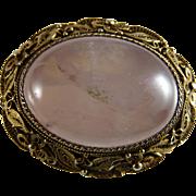 Vintage Chinese Export Gilt Silver Filigree Rose Quartz Pin