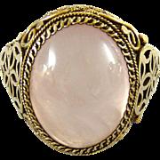 Vintage Chinese Export Rose Quartz Ring Gilt Silver Filigree