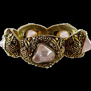 Vintage Chinese Export Bracelet Rose Quartz Gilt Silver Filigree