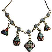 Antique Micro Mosaic Drop Dangle Necklace