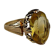 Vintage Art Deco 14K Citrine Ring