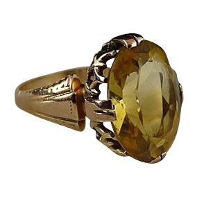 Vintage Art Deco 14K Citrine Ring