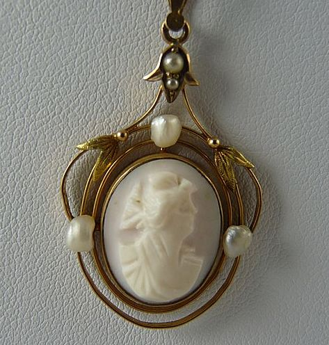 Vintage Angel Skin Cameo Lavalier Pendant 10K Gold and Freshwater Pearls