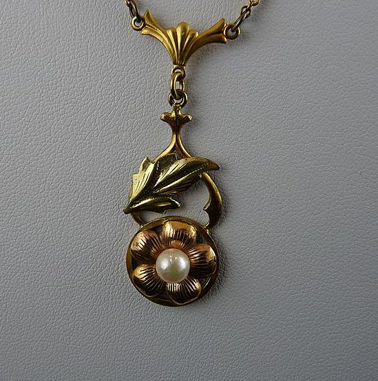Vintage Gold Filled Lavalier with Faux Pearl