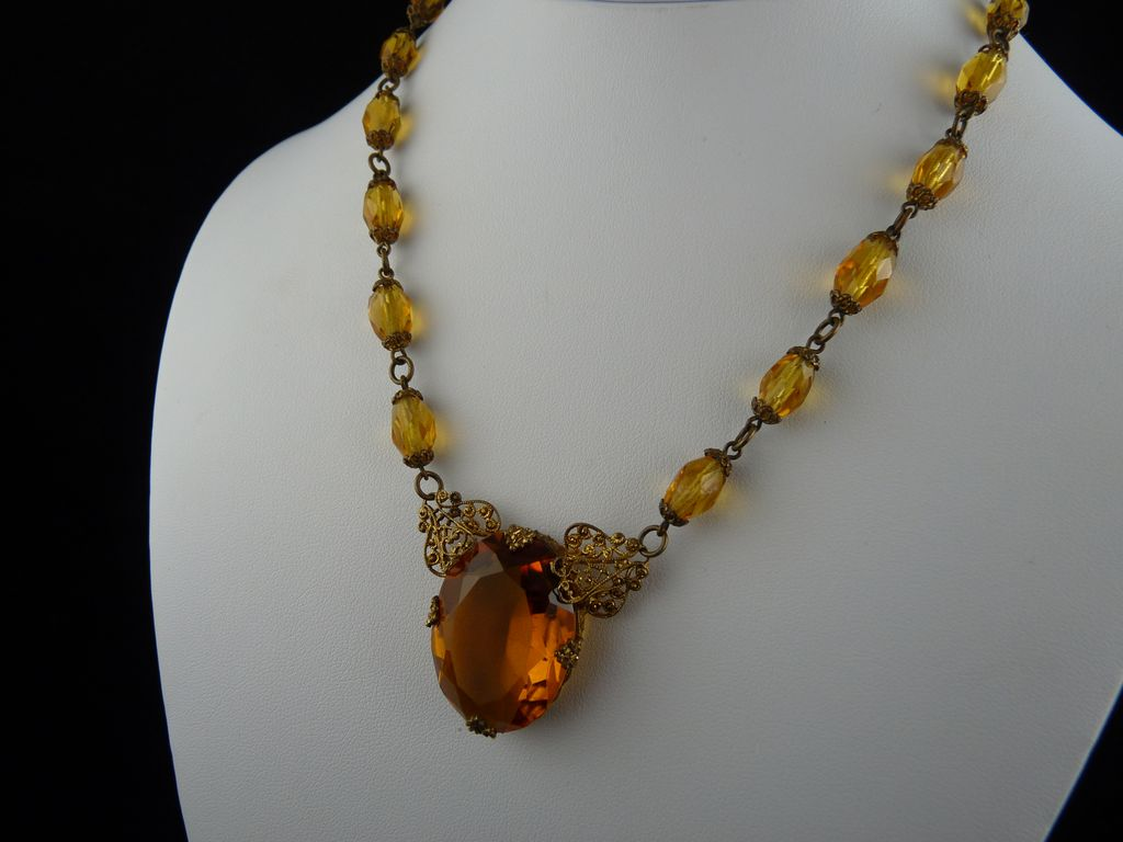 Vintage Art Deco Amber Czech Glass Filigree Necklace