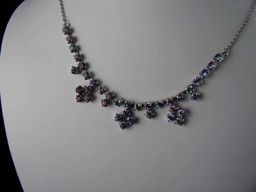 Beautiful Vintage Iris Rainbow Glass Necklace