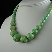 Art Deco Carved Galalith Bead Necklace Pale Green and Cream
