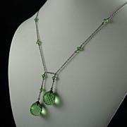 Art Deco Peridot Green Glass Negligee Necklace