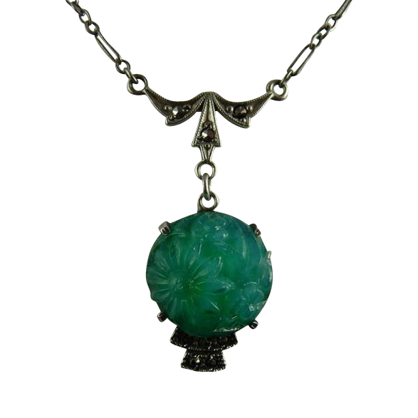 Vintage Sterling Marcasite and Faux Jade Molded Glass Lavalier Necklace