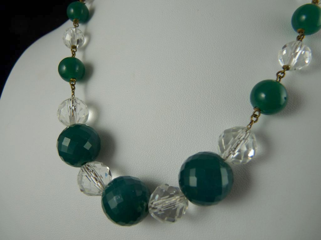 Vintage Faceted Czech Glass Beads Green and Clear