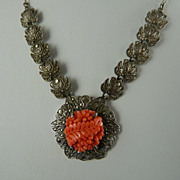 Art Deco Sterling Marcasite Necklace with Faux Coral