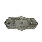 Vintage Art Deco 14K White Gold Filigree Rock Crystal and Diamond Pin