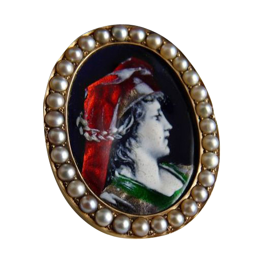 Vintage Limoges Enamel Portrait Pin With Pearls