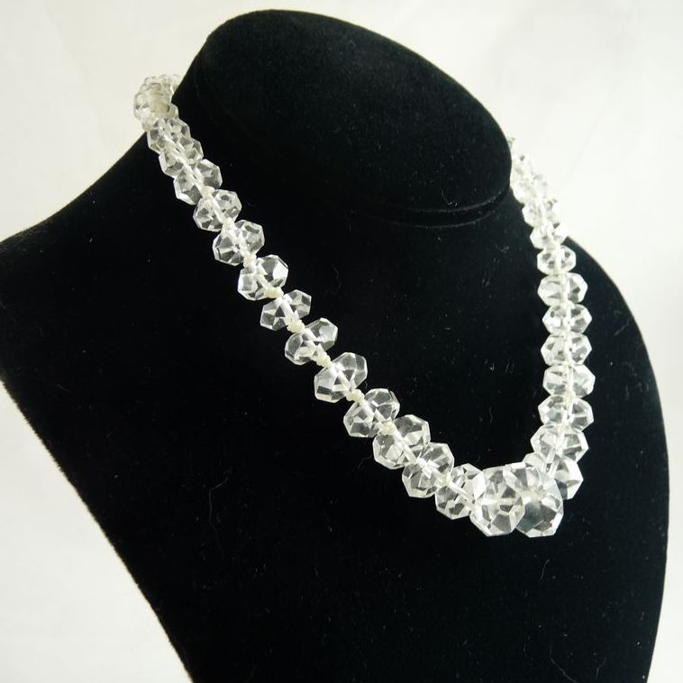 art deco rock crystal necklace chinese export from