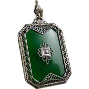 Vintage Art Deco 10K White Gold Filigree Chrysoprase Pendant