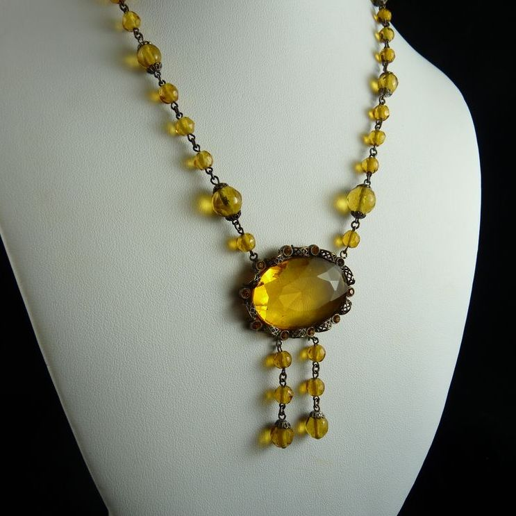 Vintage Art Deco Citrine Glass Necklace