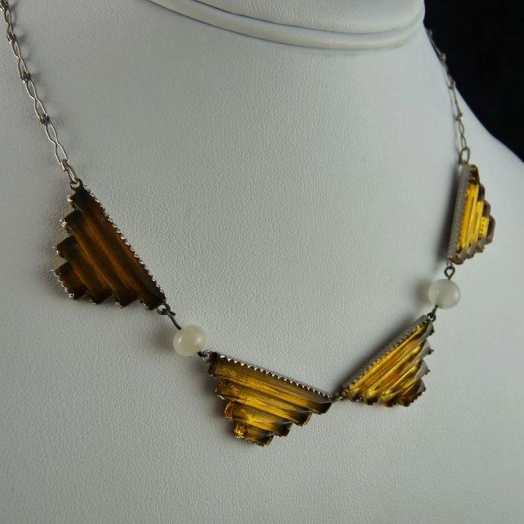 Art Deco Geometric Stepped Glass Necklace