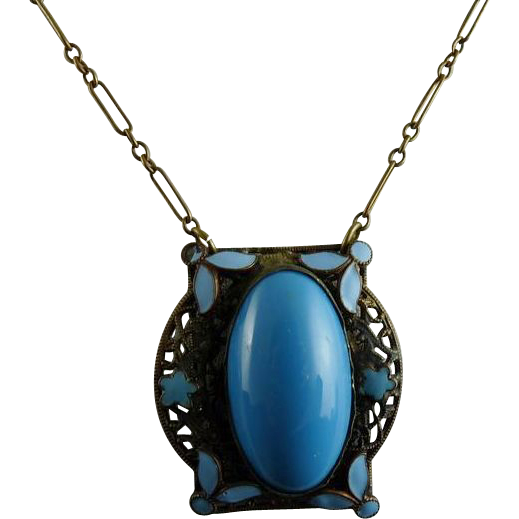 Vintage Art Deco Brass Filigree and Enamel Pendant with Blue Stone