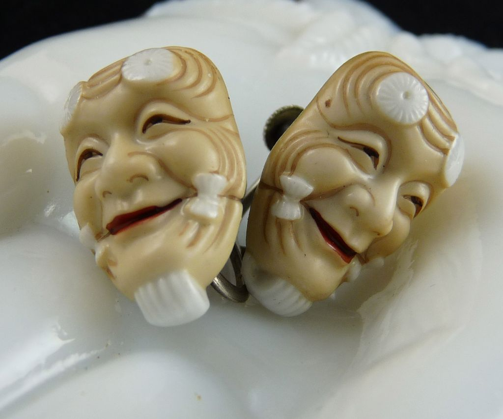 Vintage Japanese Toshikane Noh Mask Porcelain Earrings
