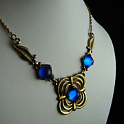 Art Deco Necklace Sterling Silver with Cobalt Blue Stones