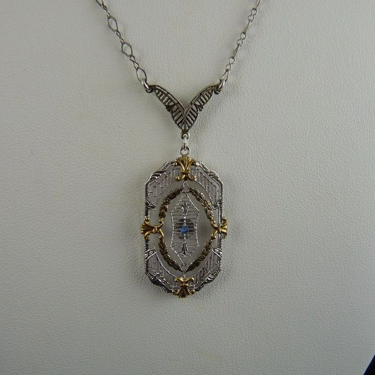 Vintage Art Deco Sterling Filigree Pendant Necklace Rhodium Plated