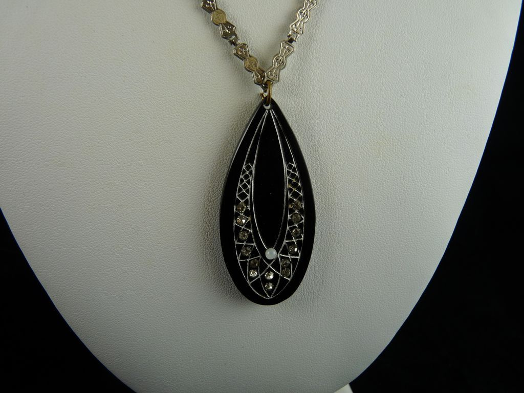 Art Deco Celluloid and Rhinestone Pendant Necklace