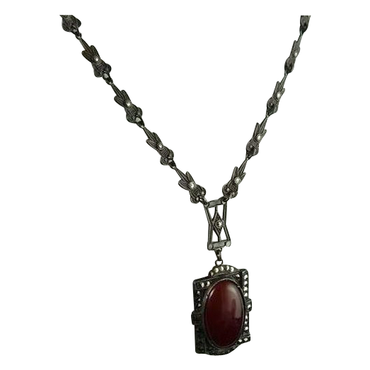 Vintage Art Deco Sterling Silver Marcasite and Carnelian Necklace