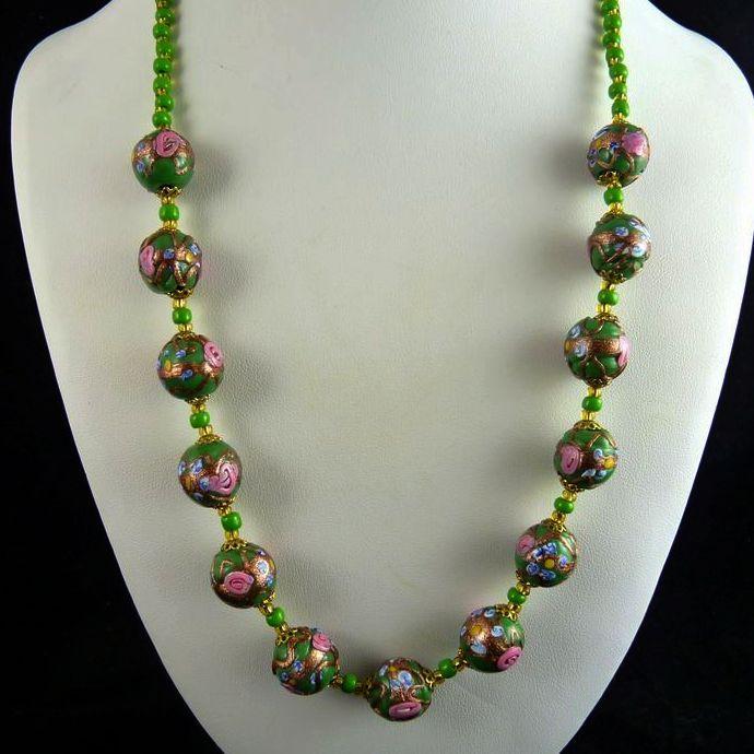 Vintage Venetian Wedding Cake Bead Necklace