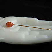 Antique Victorian Coral Stickpin 14K Gold
