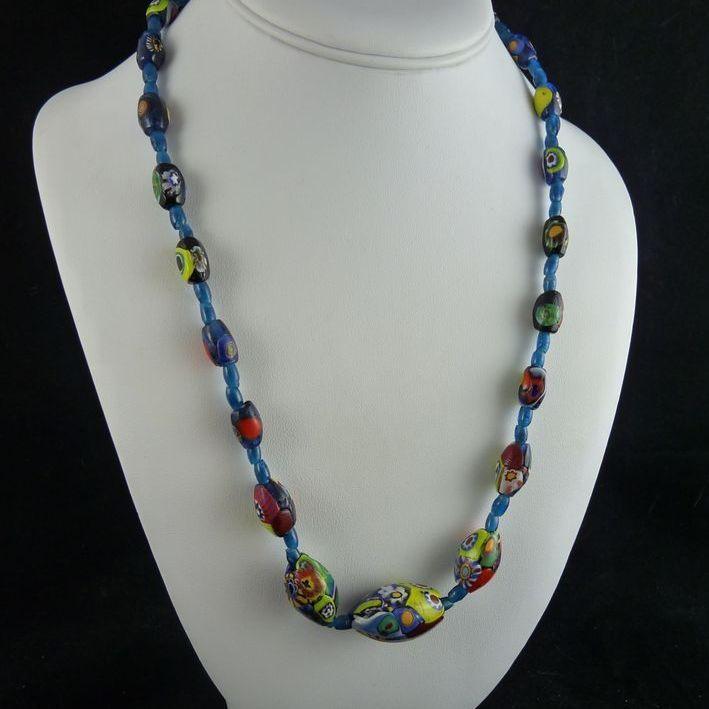 Vintage Millefiore Venetian Bead Necklace