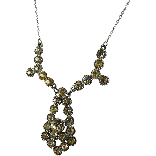 Vintage Art Deco Geometric Rhinestone Necklace